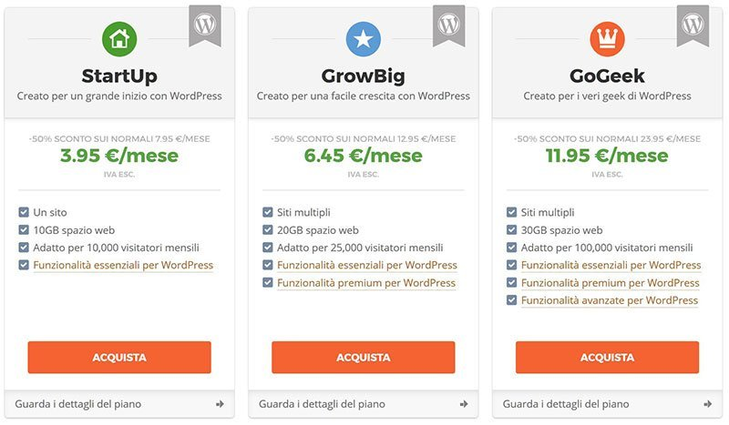 piani siteground hosting wordpress